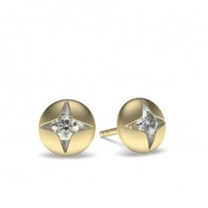 Yellow Gold Round Diamond Delicate Earrings