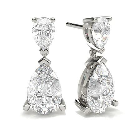 3 Prong Setting Pear Diamond Designer Earrings