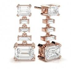 Emerald Rose Gold Cluster Earrings