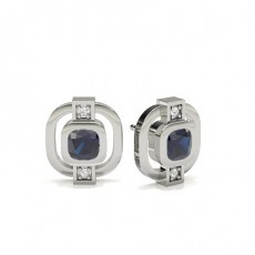 Cushion White Gold Diamond Earrings
