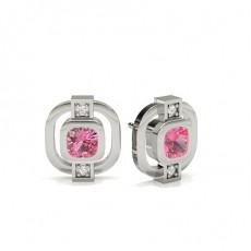 Full Bezel Setting Pink Sapphire Designer Earring