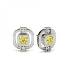 Bezel Yellow Diamond Stud Earring