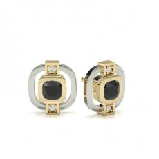 Cushion Yellow Gold Black Diamond Earrings