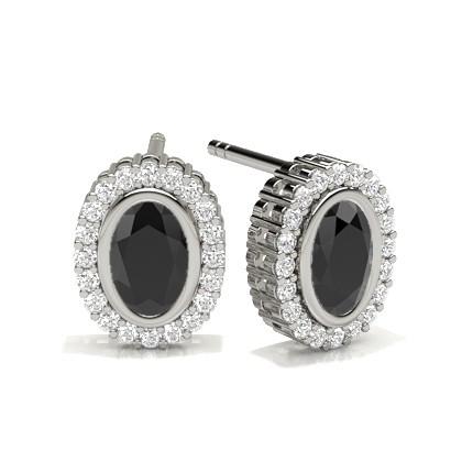 Full Bezel Setting Black Diamond Halo Stud Earrings