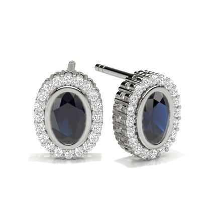 Full Bezel Setting Blue Sapphire Halo Earring