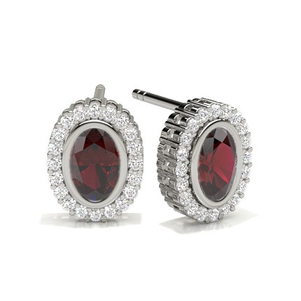 Full Bezel Setting Ruby Halo Earring