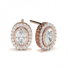 Oval Rose Gold Halo Earrings