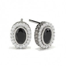 Oval Platinum Black Diamond Earrings