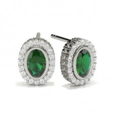 Full Bezel Setting Emerald Halo Earring