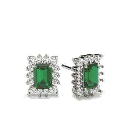 4 Prong Setting Emerald Halo Earring