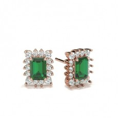 Emerald Rose Gold Diamond Earrings
