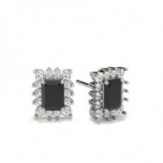 Emerald Platinum Black Diamond Earrings