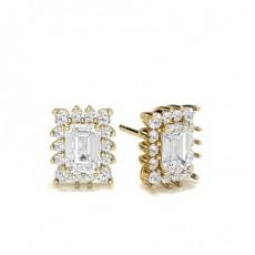 Emerald Yellow Gold Halo Earrings