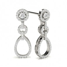 Round Platinum Cluster Earrings