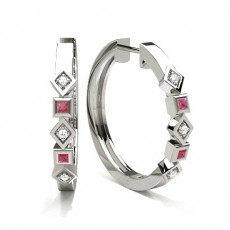 Pave Setting Ruby Hoop Earring