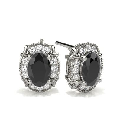 4 Prong Setting Black Diamond Halo Stud Earrings