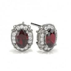 Oval Silver Diamond Earrings