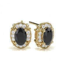 Oval Yellow Gold Black Diamond Earrings