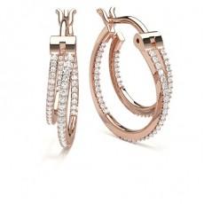 Round Rose Gold Hoops Earrings