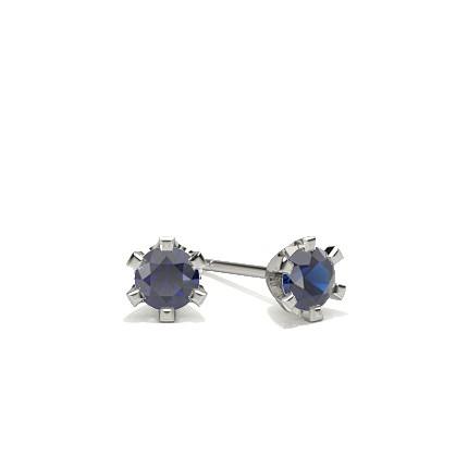 6 Prong Setting Blue Sapphire Stud Earring