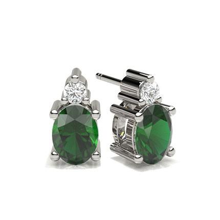 4 Prong Setting Emerald Stud Earring