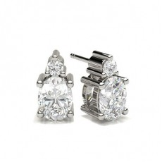 Oval Silver Stud Diamond Earrings