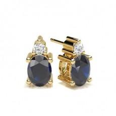Oval Yellow Gold Stud Diamond Earrings