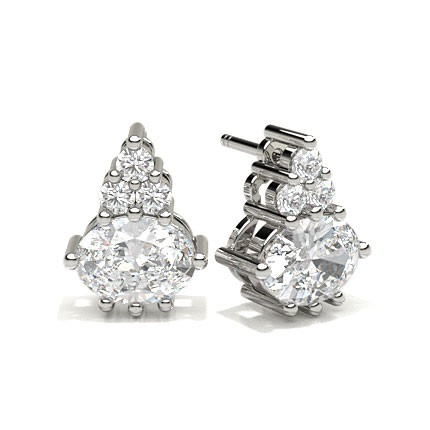 4 Prong Setting Oval Diamond Cluster Earrings