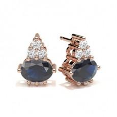 Oval Rose Gold Diamond Earrings