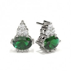 4 Prong Setting Emerald Cluster Earring