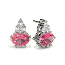 4 Prong Setting Pink Sapphire Cluster Earring