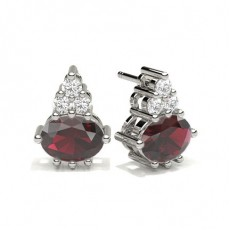 4 Prong Setting Ruby Cluster Earring