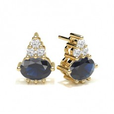 4 Prong Setting Blue Sapphire Cluster Earring