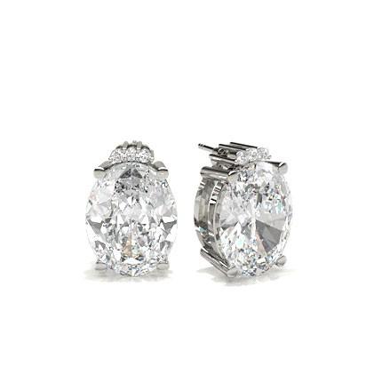 4 Prong Setting Oval Diamond Designer Earrings