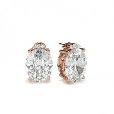 Oval Rose Gold Designer Earrings