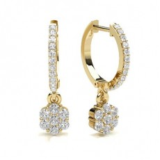 Round Yellow Gold Hoops Earrings