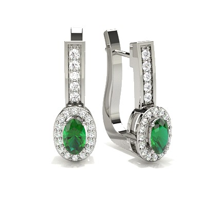 4 Prong Setting Emerald Hoop Earring