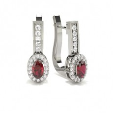 4 Prong Setting Ruby Hoop Earring