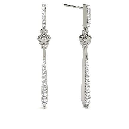Prong Setting Round Diamond Journey Earring