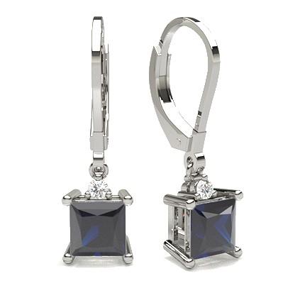 Prong Setting Blue Sapphire Hoop Earring