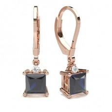 Princess Rose Gold Diamond Earrings