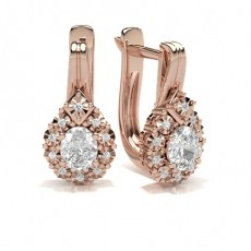 Oval Rose Gold Hoops Earrings