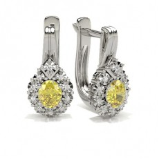 Oval Shape Yellow Diamond Hoop Earring