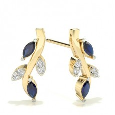 Marquise Yellow Gold Diamond Earrings