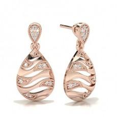 Round Rose Gold Designer Earrings