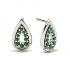 Round Silver Diamond Earrings