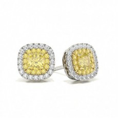 Cushion Platinum Stud Diamond Earrings