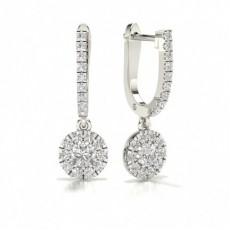 Platinum Hoop Diamond Earrings