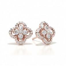 Or Rose Prêts à Livrer Boucles d'oreilles Diamant
