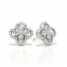 Or Blanc Prêts à Livrer Boucles d'oreilles Diamant